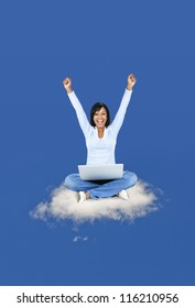 Happy black woman with computer sitting on cloud