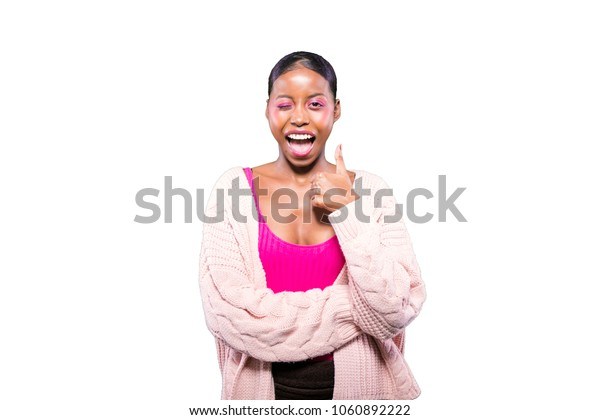 happy black young girl smiling