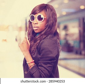 happy black-woman with sunglasses