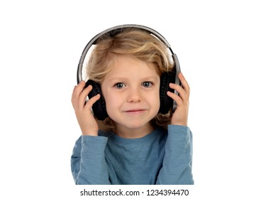 Happy blond child with headphones an blue t-shirt isolated on a white background