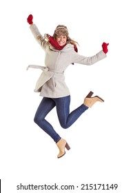 Happy blonde in winter clothes posing on white background