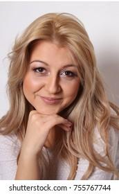 happy blonde woman