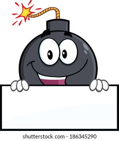 Happy Bomb Cartoon Character Over Blank Sign. Raster Illustration Isolated on white