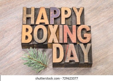 Happy Boxing Day word abstract in vintage letterpress wood type