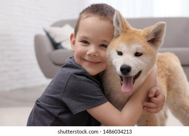 Happy boy with Akita Inu dog indoors. Lovely friends