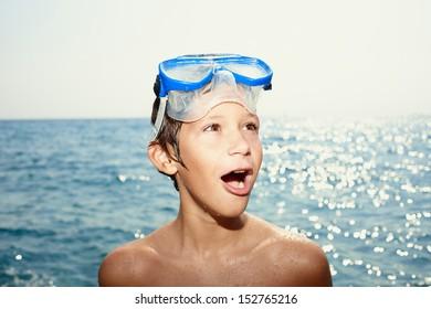 Happy boy at the beach