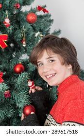 Happy boy beside the christmas tree
