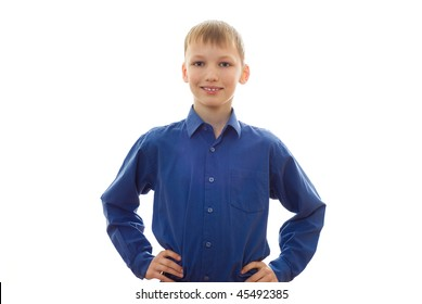 happy boy in a blue shirt and smiling