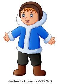 Happy boy in blue winter clothes