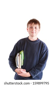 happy boy with books on a white background