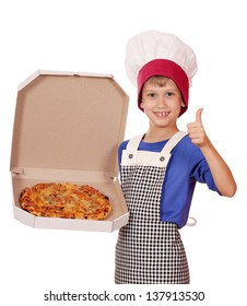 happy boy chef hold box with pizza