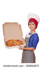 happy boy chef holding a pizza box