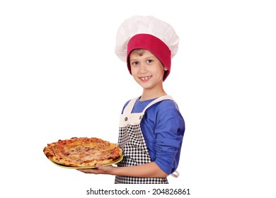 happy boy chef with pizza