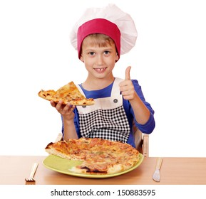 happy boy chef with pizza and thumb up