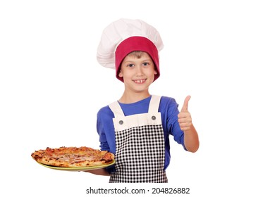 happy boy chef with thumb up and pizza