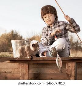 Custom Made T Shirt Boy And His Dog Fishing Pole Pail Fish Fisherman Puppy