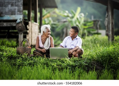 Happy boy and grandmother using laptop, Education.