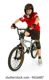 Happy boy in helmet on BMX and looking at camera. Isolated on white background.