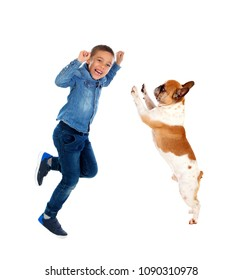 Happy boy and his dog jumping isolated on a white background