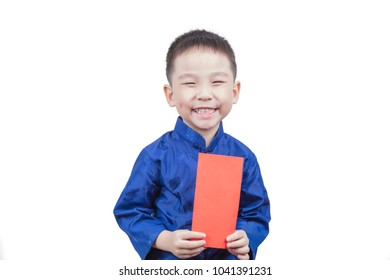 Happy boy holding Red envelope for new year means get luck and rich. isolated on white background