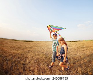 Happy boy and little girl with bright kite on a meadow in a sunny evening