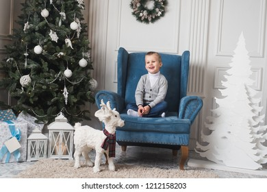 happy boy on the couch waiting for a gift or presents. Merry Christmas background.