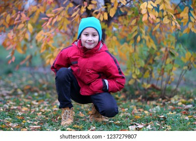 happy boy outdoors in autumn