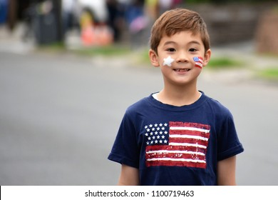 Happy boy painted American flag on his face