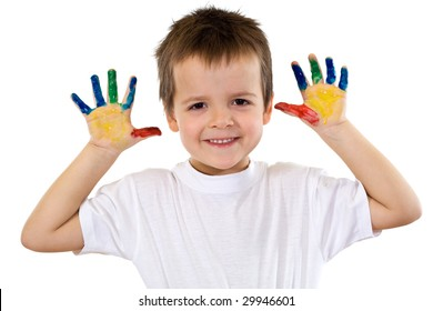 Happy boy with painted hands smiling - isolated