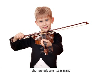happy boy play music on violin