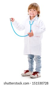 Happy boy playing a doctor holding a sthetoscope - isolated over white