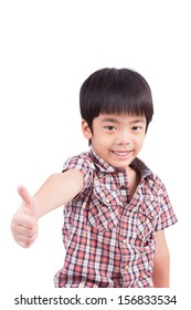 happy boy showing thumbs up isolated on white background