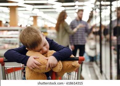 Happy boy sitting in shopping trolley in supermarket and playing with teddy bear
