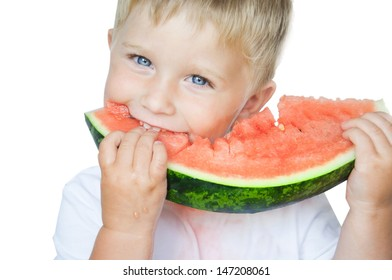 Happy boy with  slice of watermelon on the white background.