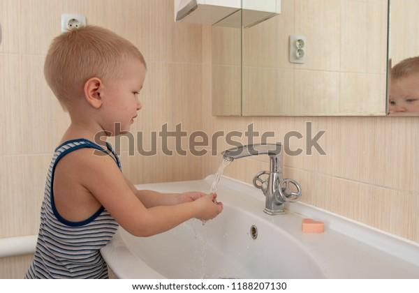 Happy Boy Taking Bath Kitchen Sink Stock Photo Edit Now