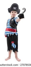 Happy boy wearing pirate costume.