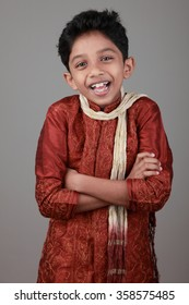 Happy boy wearing traditional Indian dress