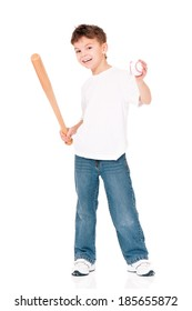 Happy boy with wooden baseball bat and ball, isolated on white background