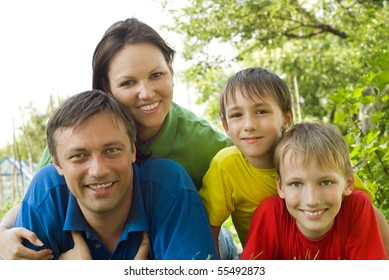 happy boys with family