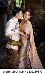 Happy bride and groom after wedding ceremony. asian thai ceremony. thailand Culture. Romantic couples. Thailand wedding. thai wedding.