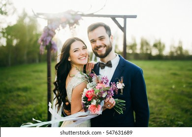 Happy bride and groom after wedding ceremony
