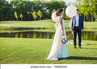 Happy bride and groom is enjoying wedding