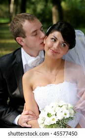 Happy bride and groom on their wedding day