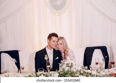 happy bride in a restaurant