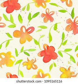 Happy and bright floral seamless pattern with hand drawn watercolor flowers and leaves. Beautiful ornament for textile printing, wrapping paper, packaging etc