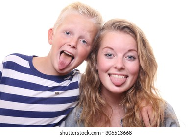 Happy brother and sister