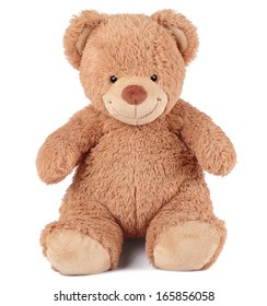 happy brown teddy bear sitting on a white background