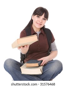 happy brunette woman with books. over white background