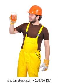 happy builder with beer on a white background