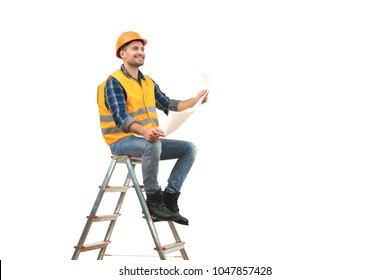 The happy builder with a paper sitting on the ladder on the white background